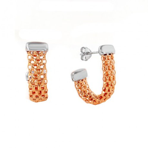 Sterling Silver Rose Gold Plated J Hook Earring