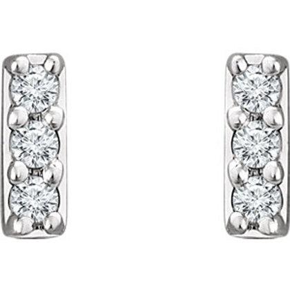 14K White Gold .05 CTW Diamond Bar Earrings