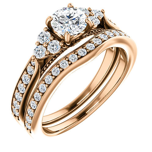 14K Rose Gold 5.2mm Round Accent Engagement Ring Mounting