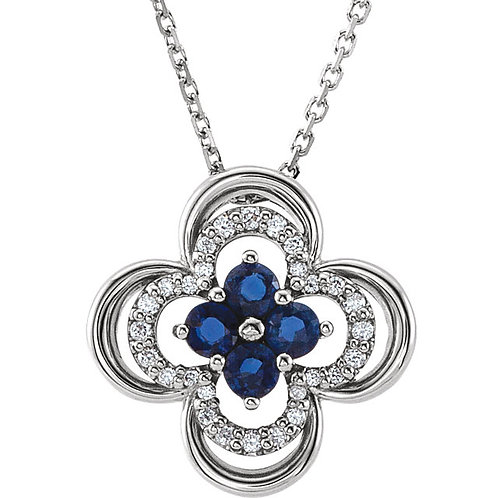 "14K White Gold Blue Sapphire & 1/10 CTW Diamond 18"" Necklace"