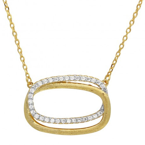 Sterling Silver Gold Plated Double CZ Open Oval Necklace