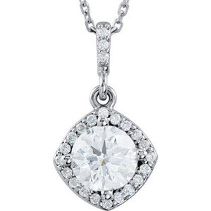 "14K White 3/8 CTW Diamond Halo-Style 18"" Necklace"