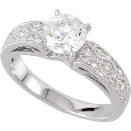 14K White 1/6 CTW Diamond Semi-set Engagement Ring for 6.5mm Round Center