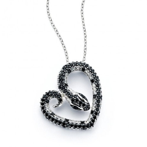 Sterling Silver Rhodium Plated Snake Heart Black & Clear CZ Necklace