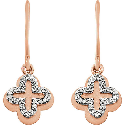 14K Rose Gold 1/8 CTW Diamond Clover Earrings