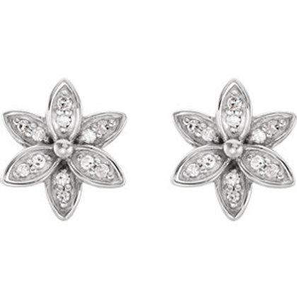 14K White Gold .07 CTW Diamond Flower Earrings