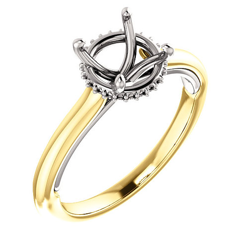 14Kk Yellow & White Gold 7.4mm Round Engagement Ring Mounting