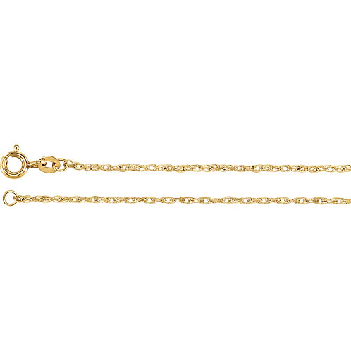 "Yellow Gold Filled 1.25mm Rope 18"" Chain"