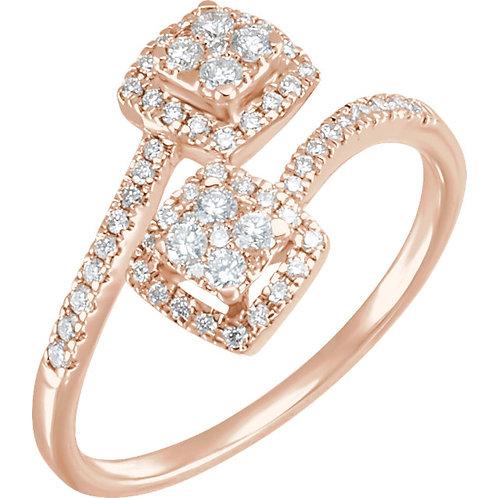 14K White 3/8 CTW Diamond Double Square Cluster Ring