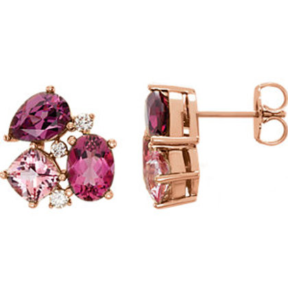 14K Rose Multi-Gemstone & 1/6 CTW Diamond Earrings