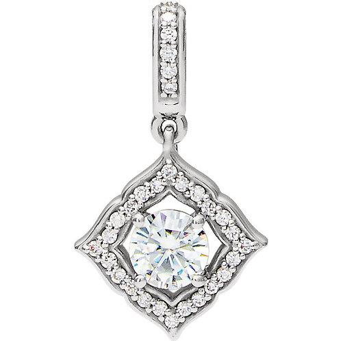 14K White Gold 5mm Round Forever One Moissanite &1/8 CTW Diamond Clover Pendant