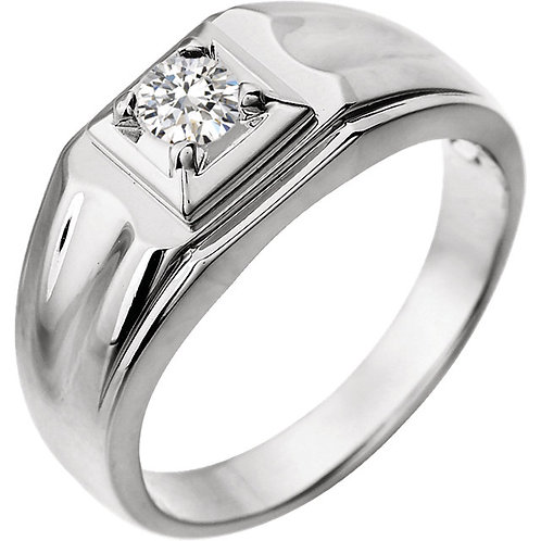14K White 3/8 CTW Diamond Men's Ring