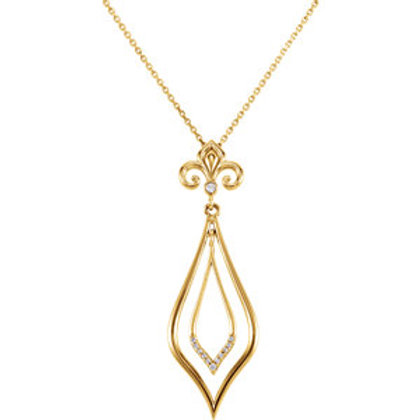 "14K Yellow .05 CTW Diamond Decorative Dangle 18"" Necklace"