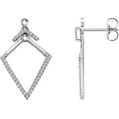 14K White 1/4 CTW Geometric Diamond Earrings