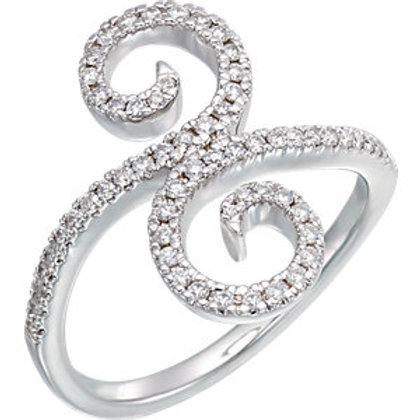 14K White 1/3 CTW Diamond Swirl Ring