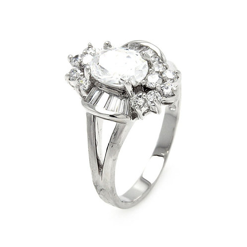 Sterling Silver Rhodium Plated Clear Baguette Round Center CZ Flower Bridal Ring