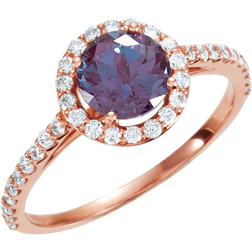 14K Rose Chatham® Created Alexandrite & 3/8 CTW Diamond Ring