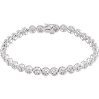 "14K White 1 CTW Diamond 7"" Bracelet"