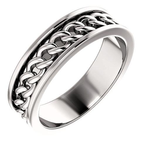 14K White Gold Link Design Wedding Band