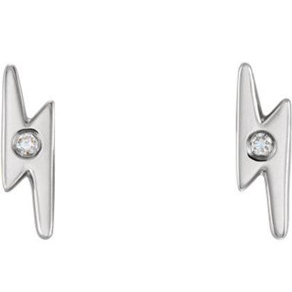 14K White Gold .03 CTW Diamond Lightning Bolt Earrings