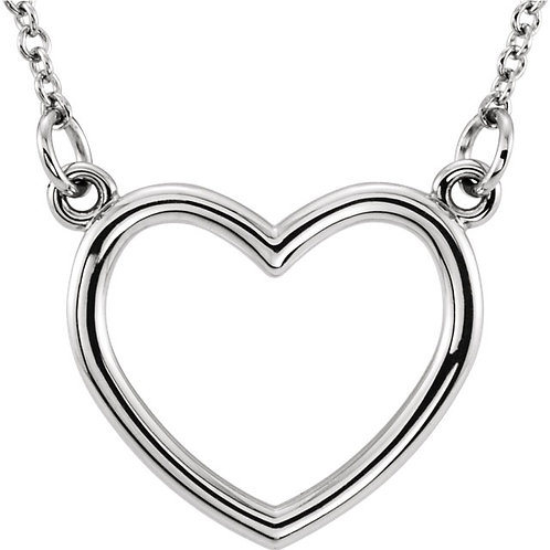 """14K White Gold 10x10.75mm 16"""" Heart Necklace"""
