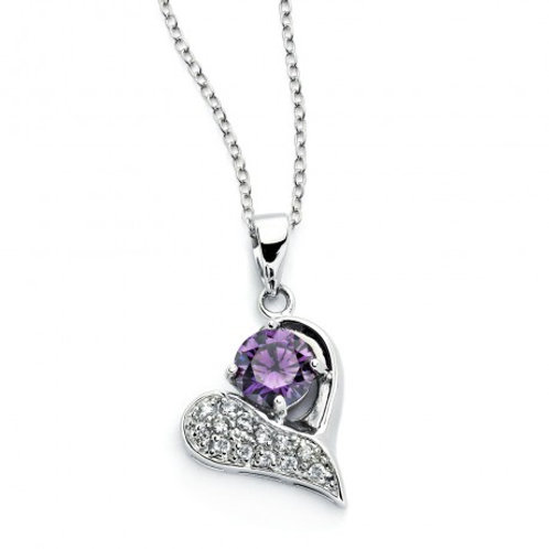 Sterling Silver Rhodium Plated Open Heart Pink CZ Inlay Necklace