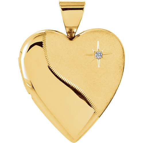 14K Yellow .01 CTW Diamond Heart Locket