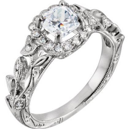 14K White 6.5mm Round 1/5 CTW Diamond Semi-set Halo-style Engagement Ring