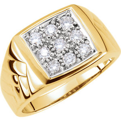 14K Yellow 5/8 CTW Men's Diamond Ring