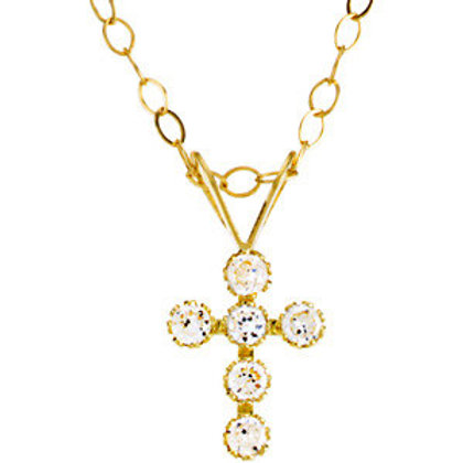 """14K Yellow Youth Cubic Zirconia Cross 15"""" Necklace"""