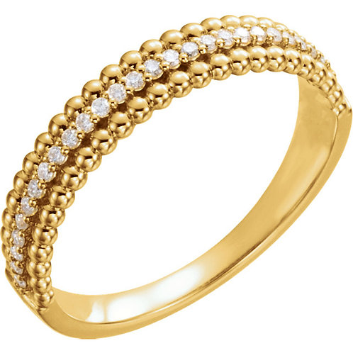 14K Yellow 1/6 CTW Diamond Beaded Ring