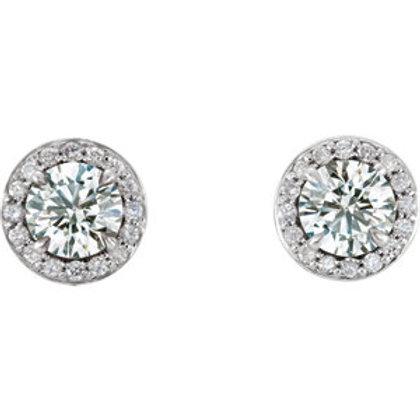 14K White Gold 1 CTW Diamond Halo-Style Earrings