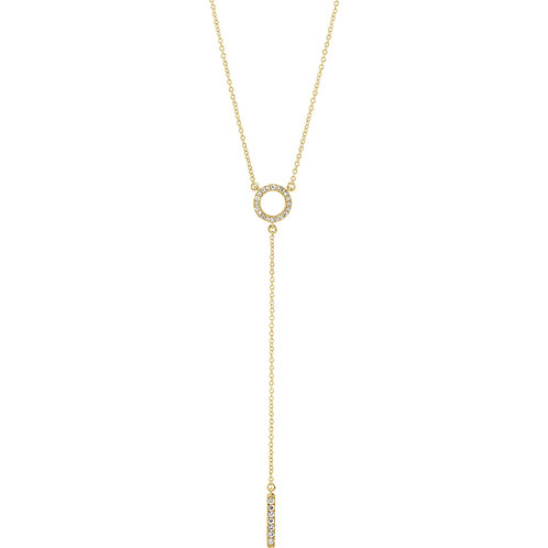 "14K Yellow 1/6 CTW Diamond Circle 16-18"" Bar Y Necklace"