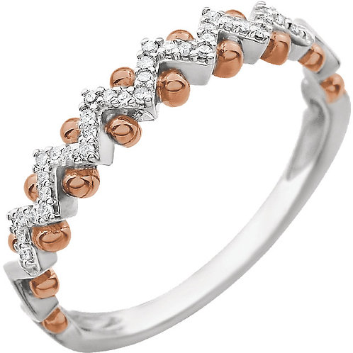 14K White & Rose .08 CTW Diamond Anniversary Band