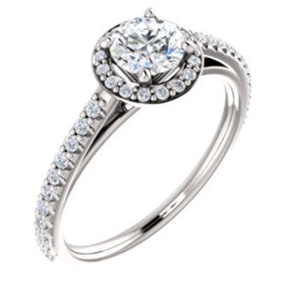 14K White Gold 3/4 CTW Diamond Halo-Style Engagement Ring