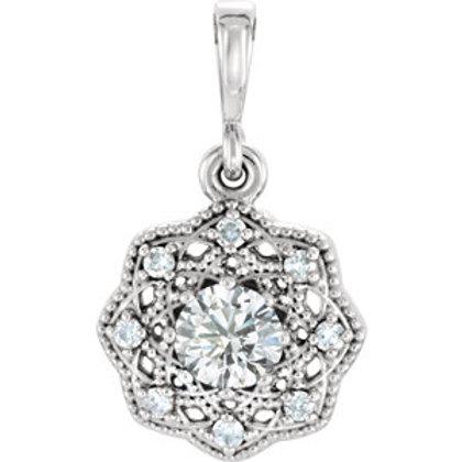 14K White Forever One™ Moissanite and .06 CTW Diamond Pendant