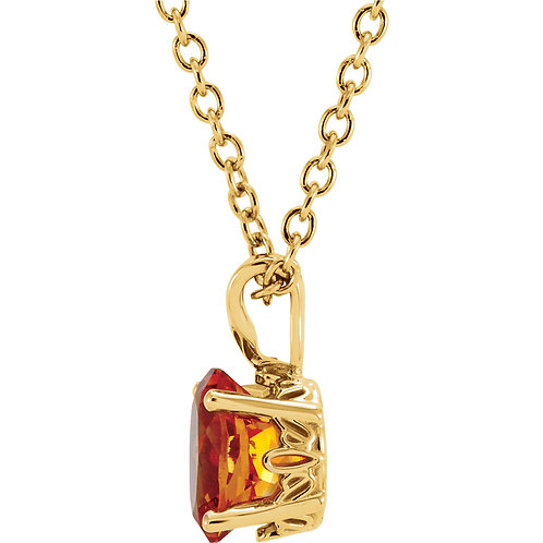 """14K Yellow 8x6mm Citrine 18"""" Necklace"""