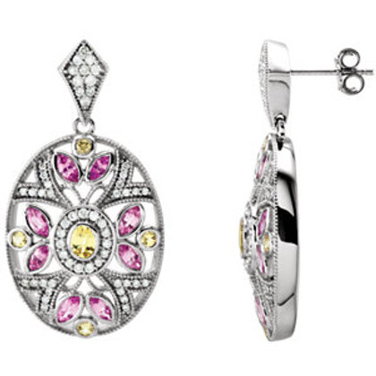 14K White Pink & Yellow Sapphire & 1/2 CTW Diamond Earrings