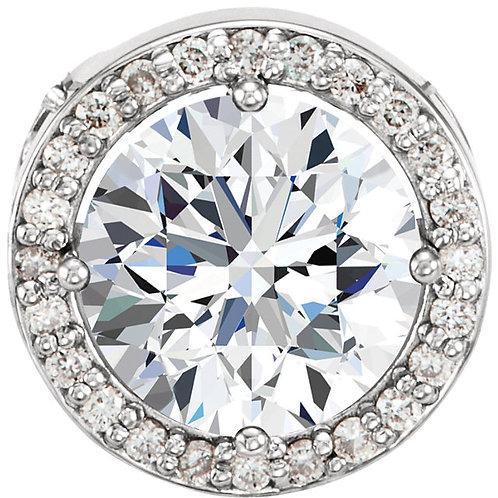 14K White Forever One™ Moissanite and .05 CTW Diamond Pendant