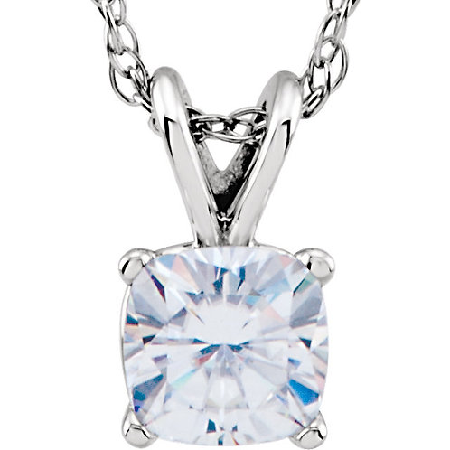 "14K White 5mm Antique Square Forever Classic™ Moissanite 18"" Necklace"