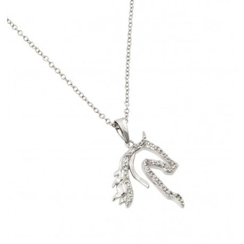 Sterling Silver Rhodium Plated Clear CZ Horse Pendant Necklace