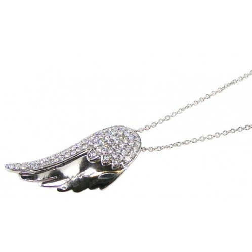Sterling Silver Rhodium Plated Wing CZ Dangling Inlay Necklace