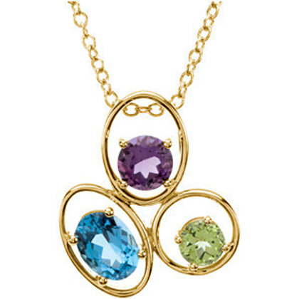 "14K Yellow Genuine Swiss Blue Topaz, Amethyst & Peridot 18"" Necklace"