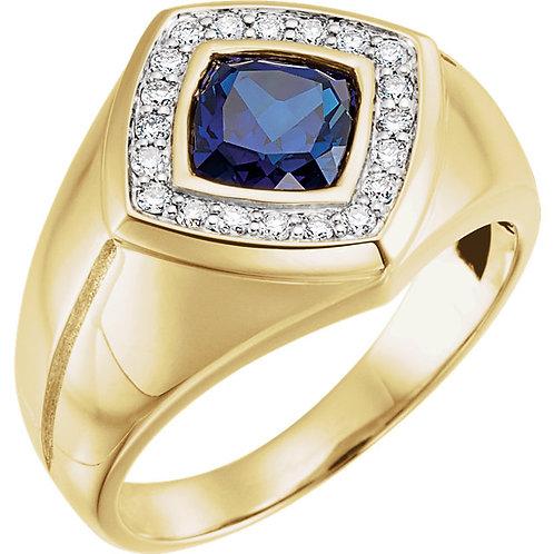 Men's Created Blue Sapphire & Diamond Halo-Style Ring