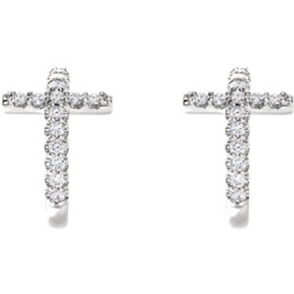 14K White Gold 1/4 CTW Diamond Cross J-Hoop Earrings