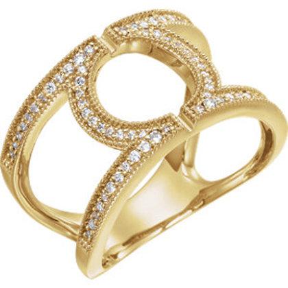 14K Yellow 1/4 CTW Round Geometric Diamond Ring