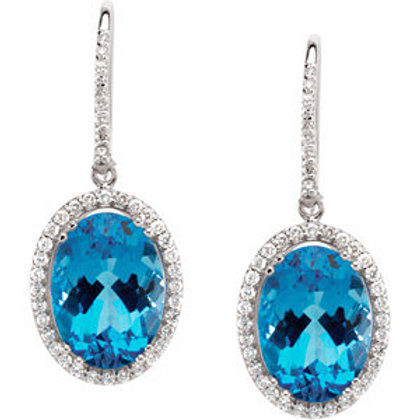 14K White Swiss Blue Topaz & 7/8 CTW Diamond Earrings