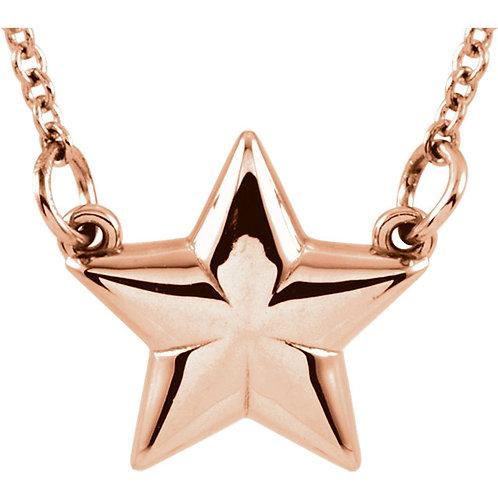 """14K Rose Gold Star 18"""" Necklace"""