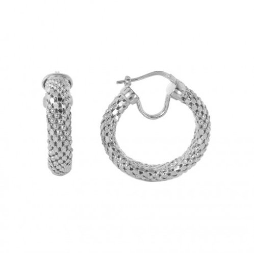 Sterling Silver Rhodium Plated Thin Hoop Chain-texture Earring