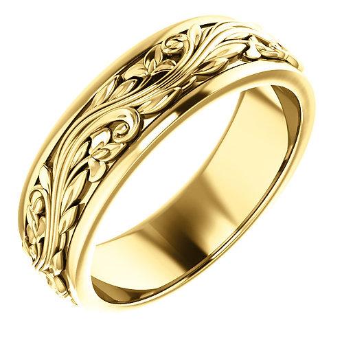 14K Yellow Gold Sculptural-Inspired Wedding Band